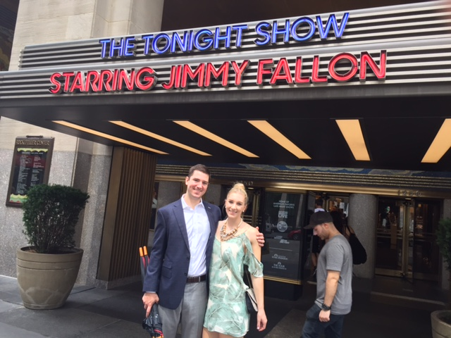 John and I outside of where they film the Tonight Show. We are obsessed with Jimmy!